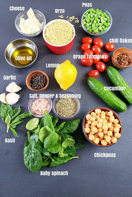 Ingredients used in making this Orzo Pasta Salad Recipe.