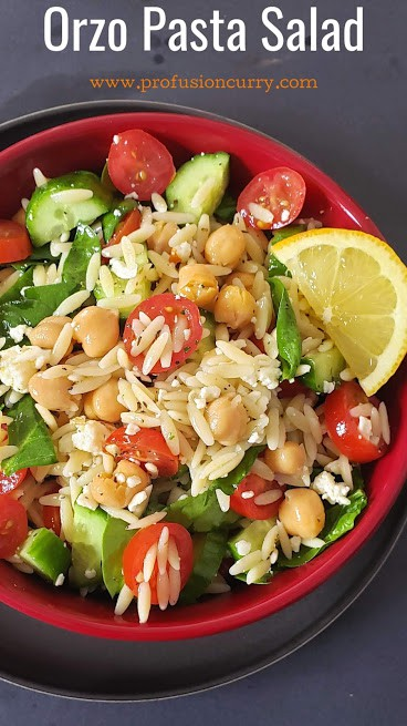 Pinterest image for Quick Orzo Pasta Salad with instant Pot instructions