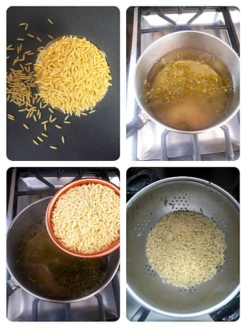 Process shot collage showing how to make orzo pasta.