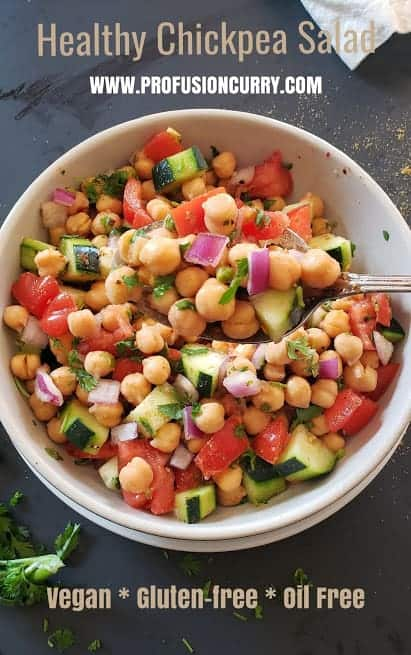 Image with text overlay for healthy veggie chickpea salad.