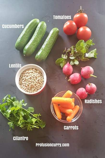 Ingredients needed to make the salad.