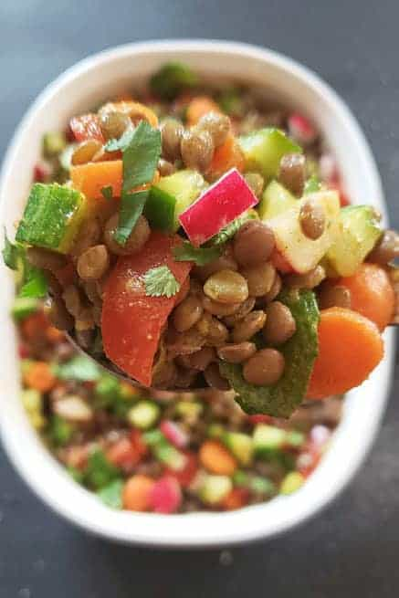 A scoop full of salad.