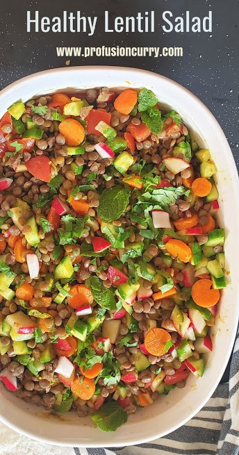 Pinterest image with text overlay for lentil salad with curry lemon dressing.