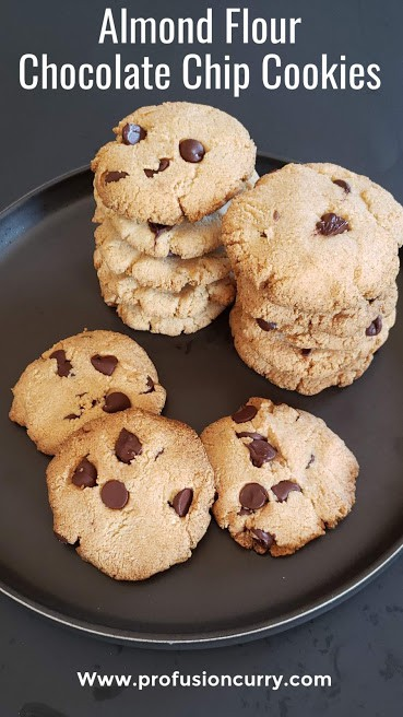 Almond Flour Chocolate chip cookies pinterest image with text overlay