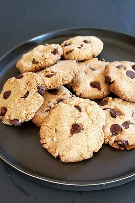 cookies stacked on a plate ready to be eaten.