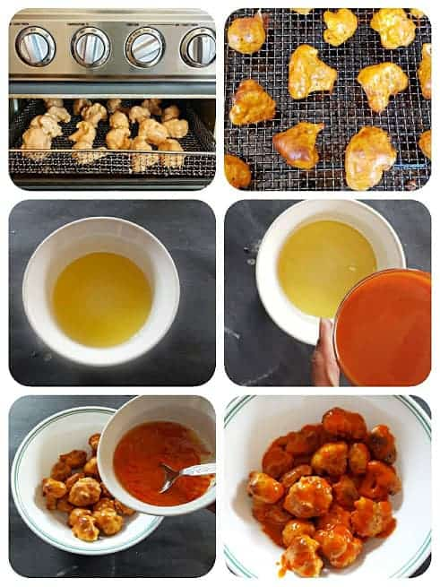 Process shot collage showing how to air fry or bake the buffalo cauliflower wings.