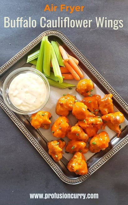 Pinterest image for Air Fryer Buffalo Cauliflower wings recipe.