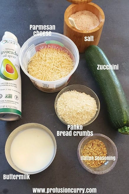 Ingredients used in making this healthy zucchini fries recipe.
