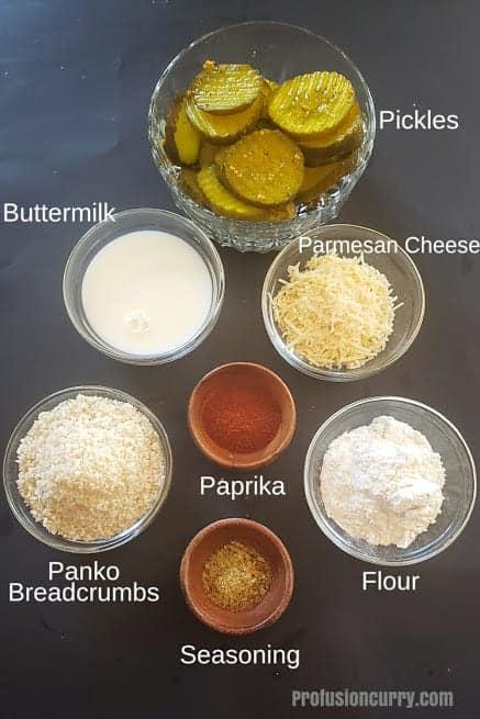 Ingredients used in making air fryer fried pickle recipe.