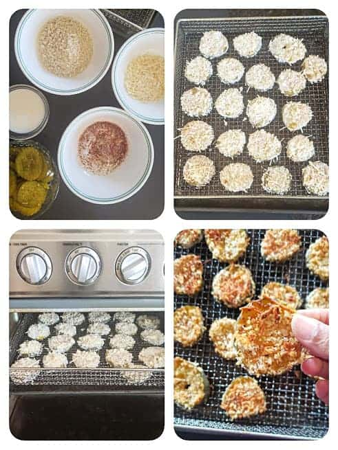 Process shot collage showing four major steps involved in making this air fryer appetizer recipe.
