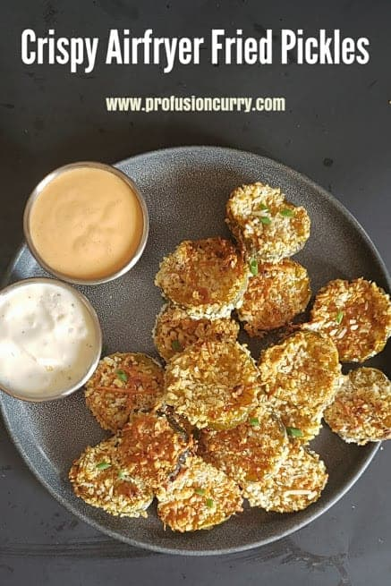 Pinterest image with text overlay for Fried Pickles in Air Fryer.