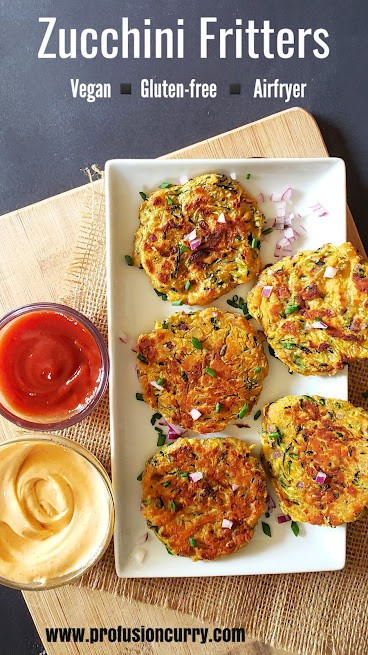 Pinterest image for Air fryer Zucchini Fritters with text overlay.