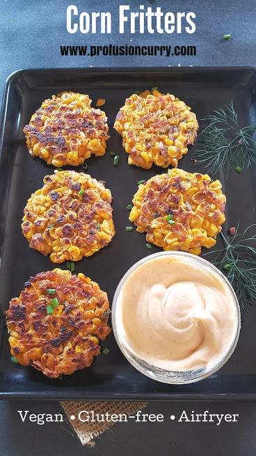 Corn Fritters made in the air fryer and served with dipping sauce.
