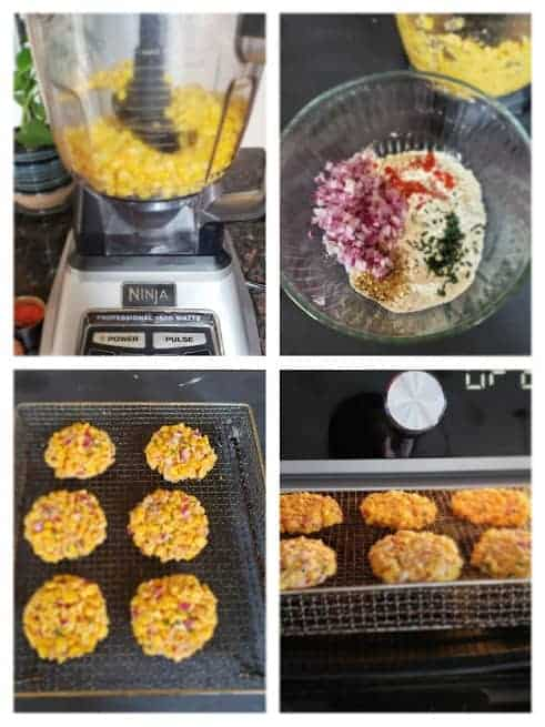 step by step photo collage showing four major steps involved in making this recipe.