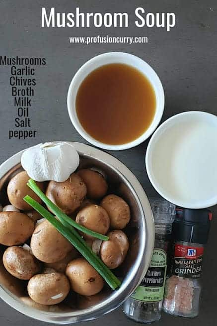 Ingredients used to make this vegan and gluten free homemade mushroom soup.
