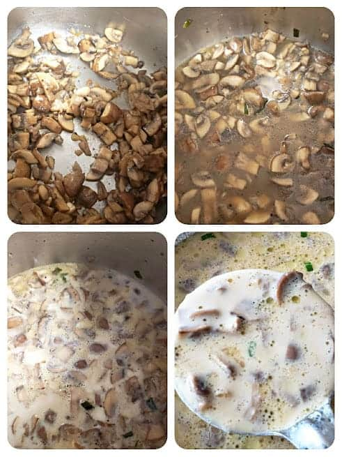 Process step collage showing major steps involved in making this soup recipe.