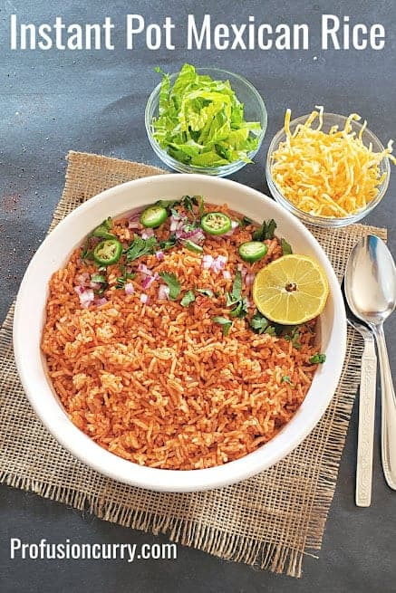 Pinterest image for homemade Mexican Rice served with cheese and lettuce.