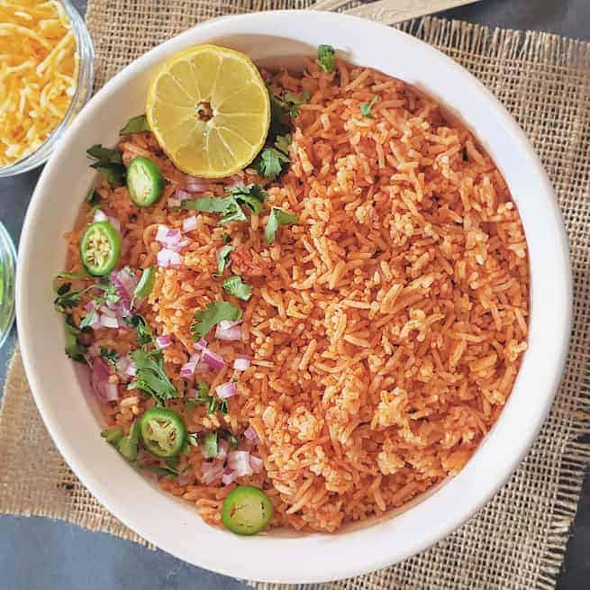 Colorful red homemade Mexican Rice made in Instant Pot..