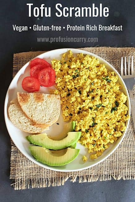 Pinterest image with text overlay for vegan, gluten free tofu scramble breakfast recipe.
