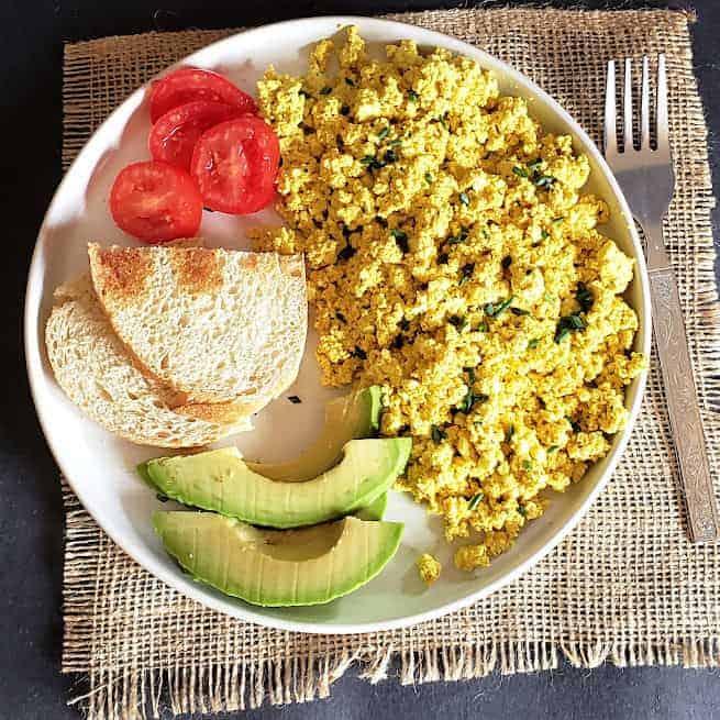 Vegan Tofu Scramble served as a breakfast.