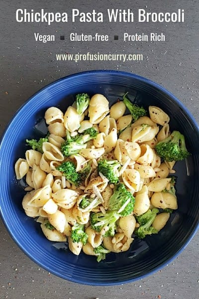 Pinterest image for chickpea pasta with broccoli and pine nuts. This vegan and gluten free pasta is protein rich comfort food.