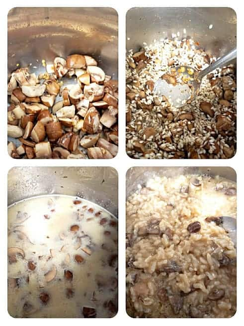 Process step collage showing major steps involved in making this vegetarian rice Risotto recipe in electric pressure cooker like Instant Pot.