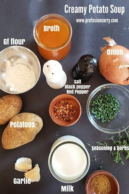 Ingredients used in making vegan and gluten free loaded potato soup.