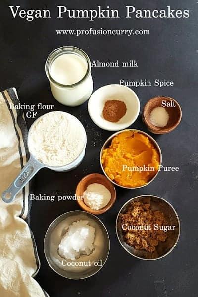 Ingredients used in making this fall favorite vegan pumpkin pancake breakfast recipe.