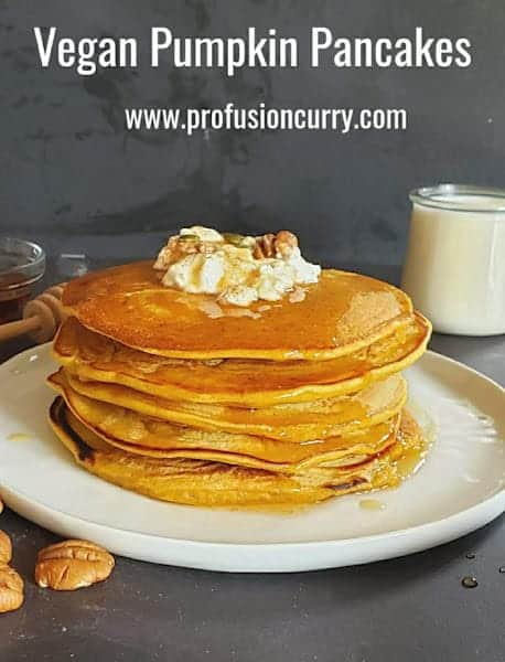 Pinterest image for vegan and gluten free pumpkin pancakes made with wholesome ingredients.