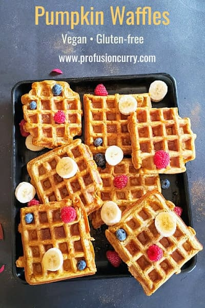 Pinterest image for vegan and gluten free pumpkin waffles made for festive fall and winter breakfast or brunch.