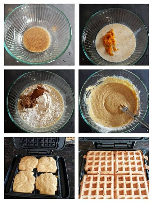 Collage of process steps involved in making this breakfast waffles recipe.
