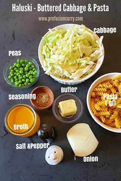 Ingredients used in making this Instant Pot Vegetarian Haluski Recipe.