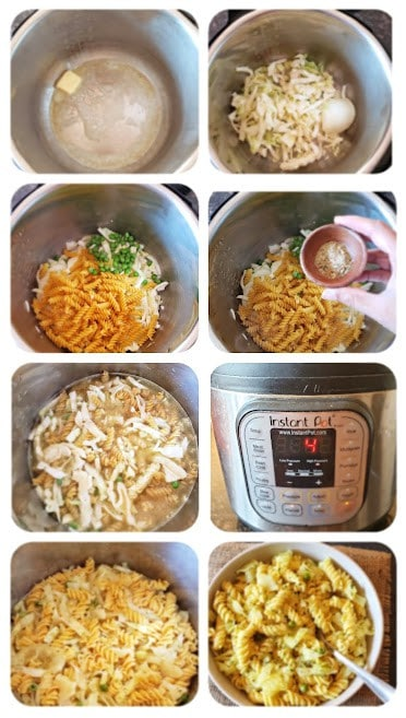 Process Step collage showing major instructions in making this Instant Pot Haluski recipe.